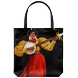 Tote bags with an African-American woman playing banjo - Art from 1896