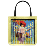 Tote bag with beautiful vintage painting of a little girl going to school - Art from 1922