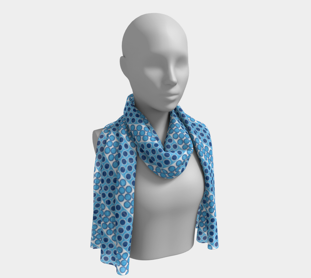 Margaux French dots pattern long scarf in blue
