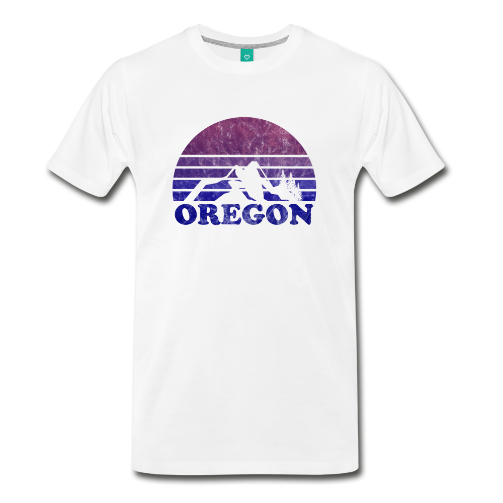 OREGON state T-shirt: Vintage-style distressed graphic on a premium unisex shirt - white