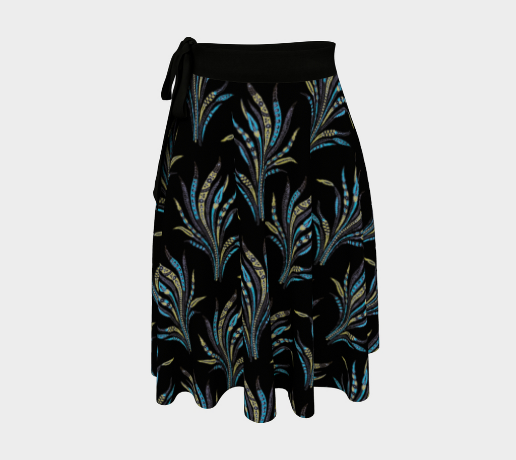 Alexandria wrap skirt  with a vintage leaf pattern on black background