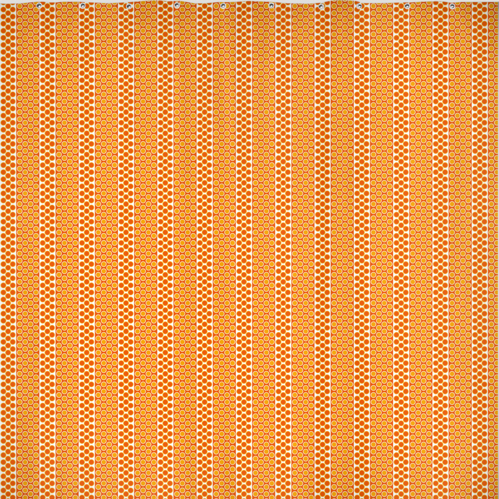 Margaux French dots pattern shower curtain in orange