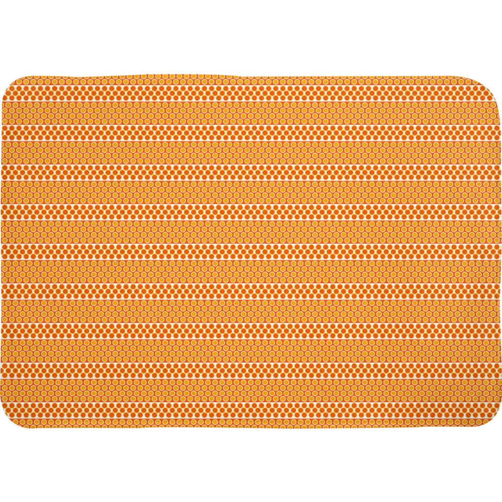 Margaux French dots pattern bath mats in orange