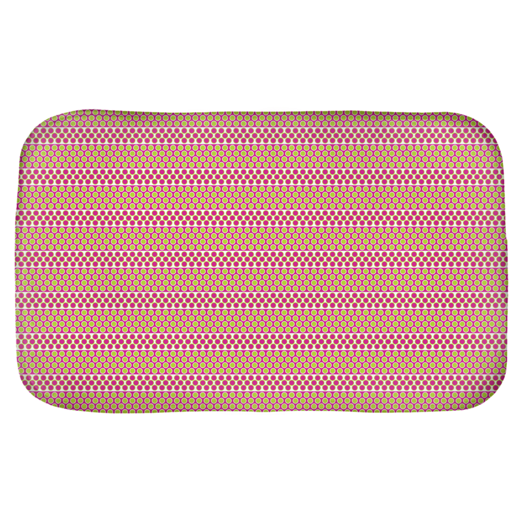 Margaux French dots pattern bath mats in green & pink