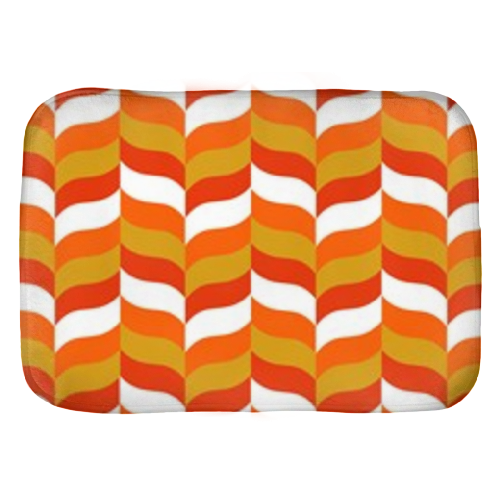 Modfeather pattern bath mat in orange