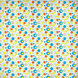Moddots retro-style pattern shower curtain in white, blue & orange