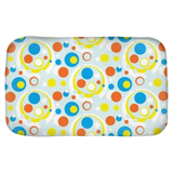 Moddots bath mat in white, blue & orange