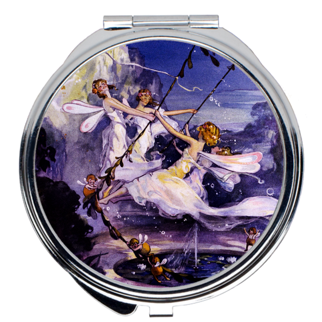 Fairies at night compact mirror - Handy purse-size accessory with vintage design