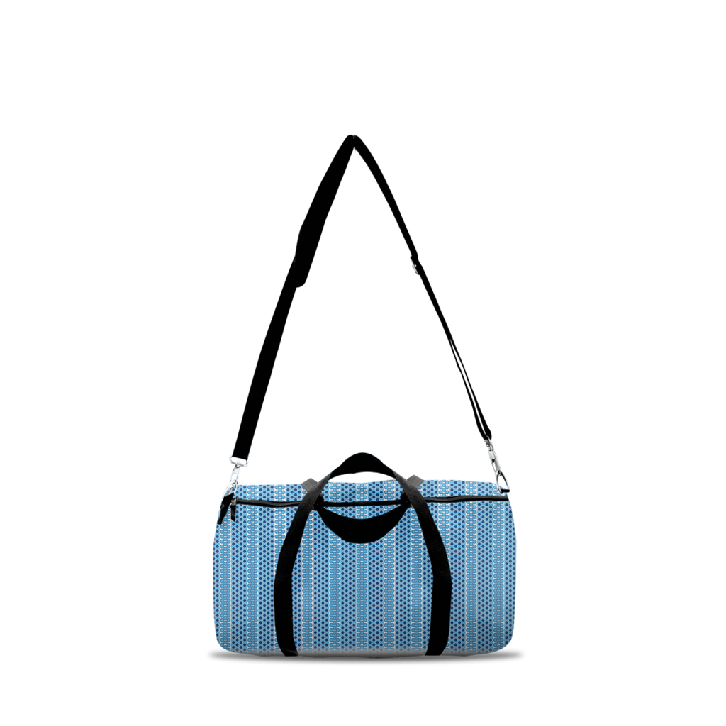 Margaux French dots pattern duffle bags in blue