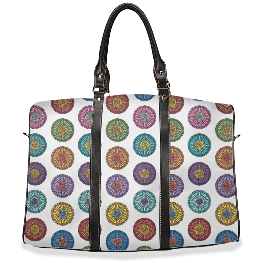 Circleflowers vintage pattern on white pattern travel bags - 2 sizes available