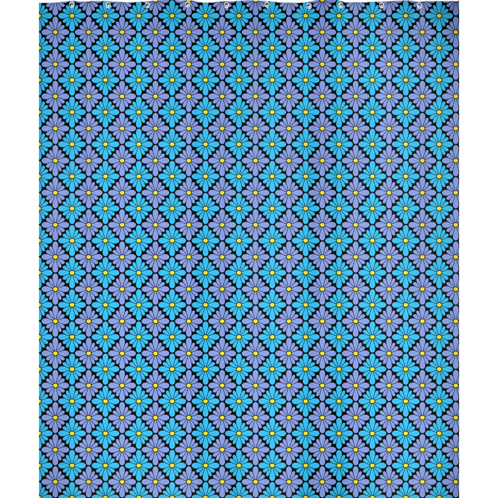 Diamondflower pattern shower curtain in blue & purple