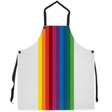 RetroRainbow apron with bold multicolored vintage-inspired stripe pattern on white
