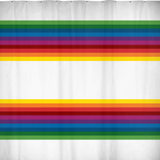 RetroRainbow shower curtain with bold multicolored vintage-inspired stripe pattern