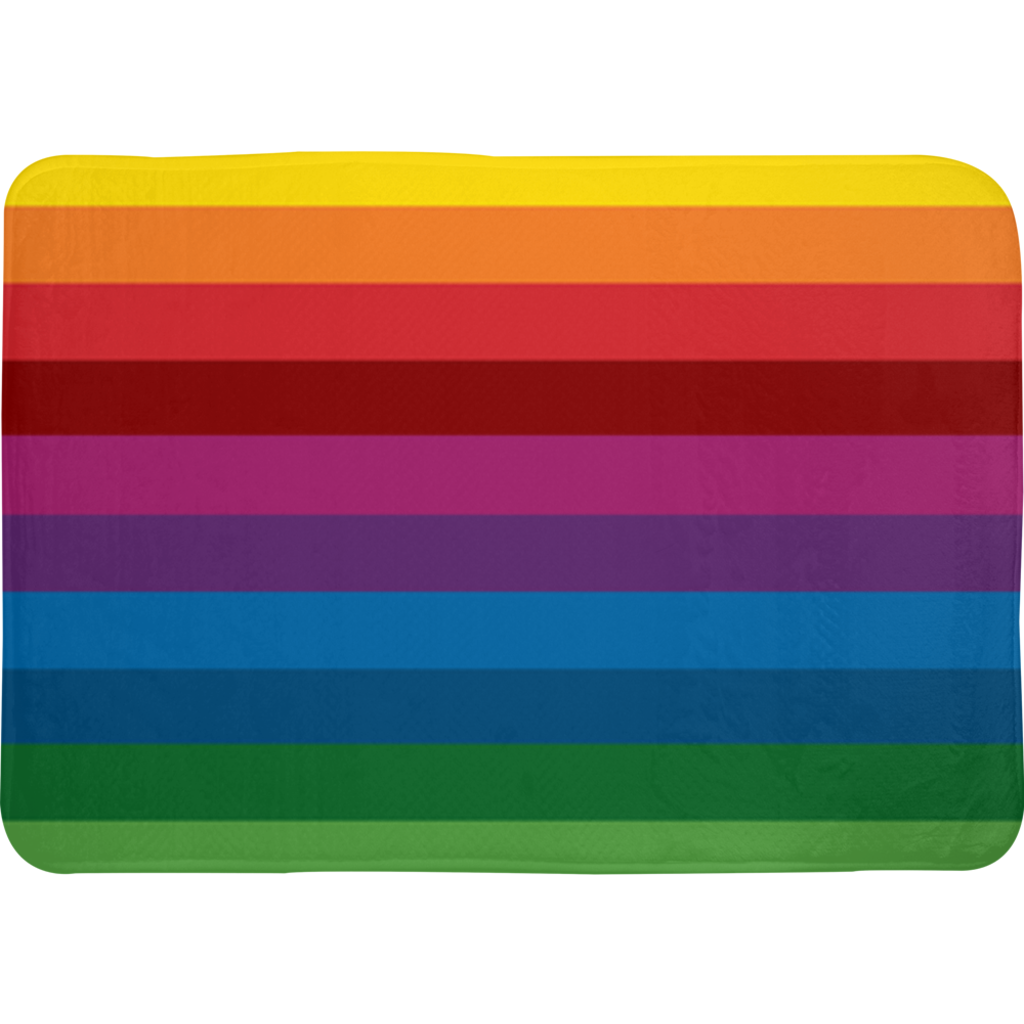 RetroRainbow bath mat with bold multicolored vintage-inspired stripe pattern