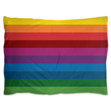 RetroRainbow pillow shams with bold multicolored vintage-inspired stripe pattern