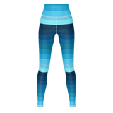 Blue Spectrum striped premium yoga pants/leggings (horizontal pattern)
