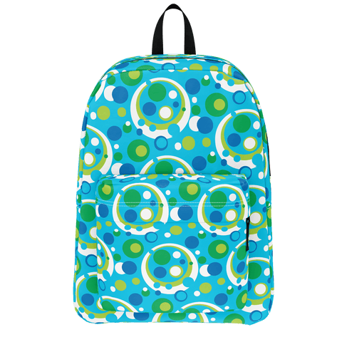 Moddots blue backpack in a retro '70s pattern