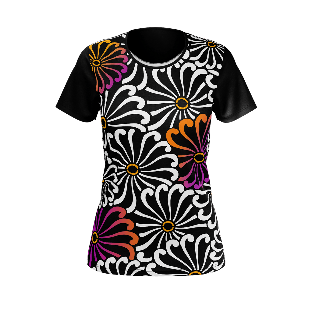 Chrysanthemum - Stylized all-over flower graphic on a short-sleeve women's T-shirt