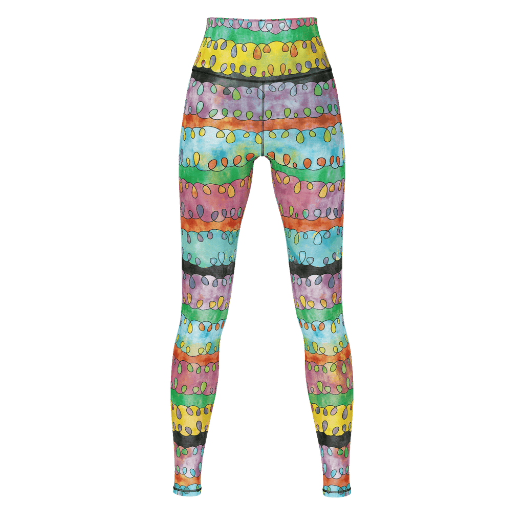Emilia premium yoga pants/leggings with retro '60s-inspired pastel watercolor pattern