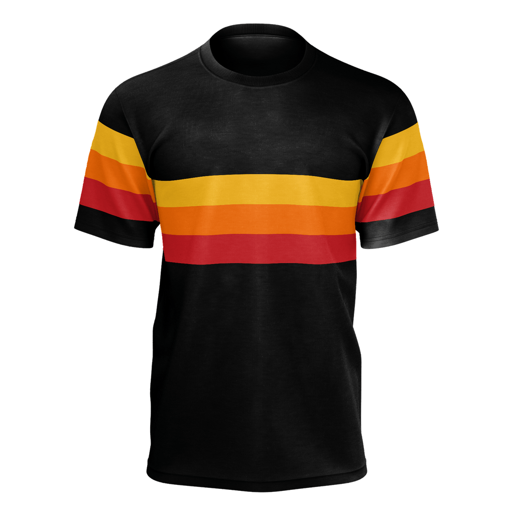Retro 1979-style athletic T-shirt in black with red, orange & yellow stripes
