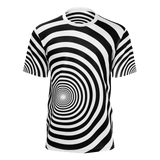 Trippy retro Time Tunnel-style black & white short sleeve all-over print shirt