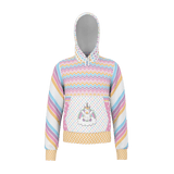 Unicorntastic kids' hoodie with fantastic pastel colors & patterns - Etta design with striped sleeves