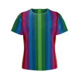RetroRainbow girls' shirt with bold multicolored vintage-inspired stripe pattern (vertical)
