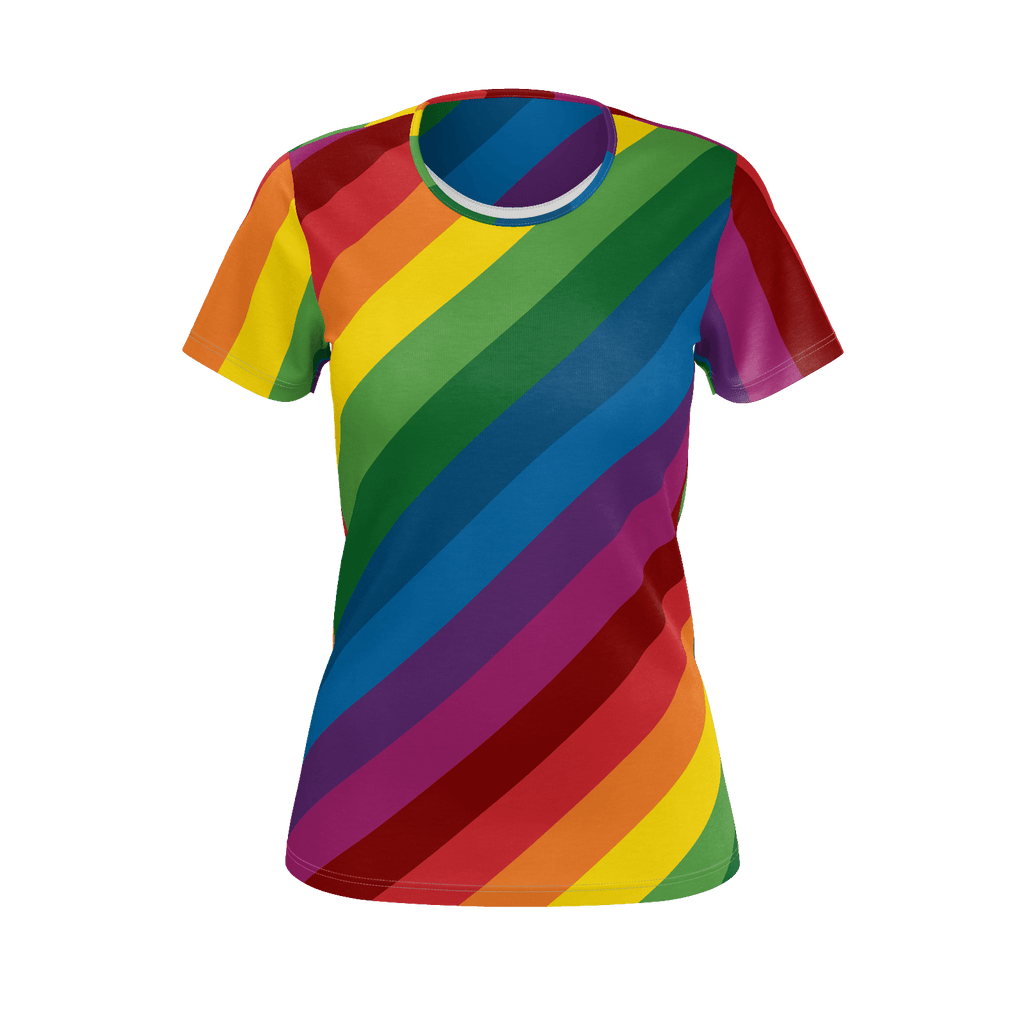 RetroRainbow diagonal stripe all-over print women's T-shirt
