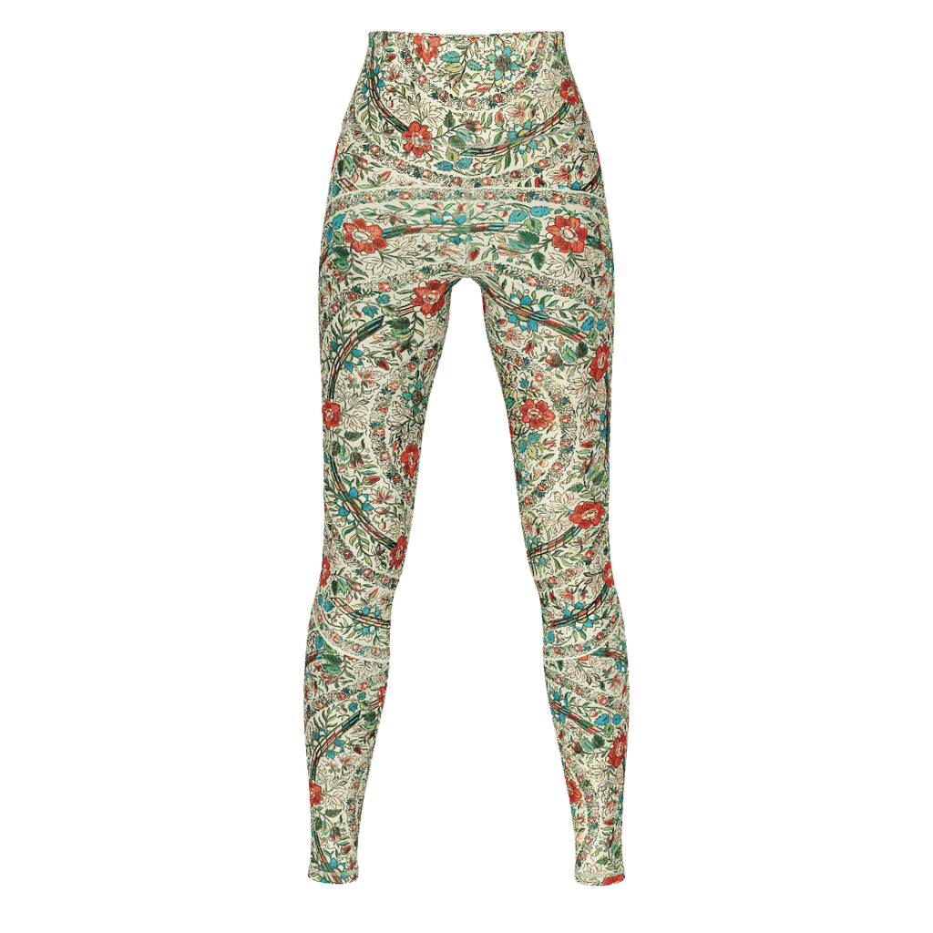 Ankara pattern premium yoga pants/leggings in Turkish embroidery design, with opaque fabric & wide waistband
