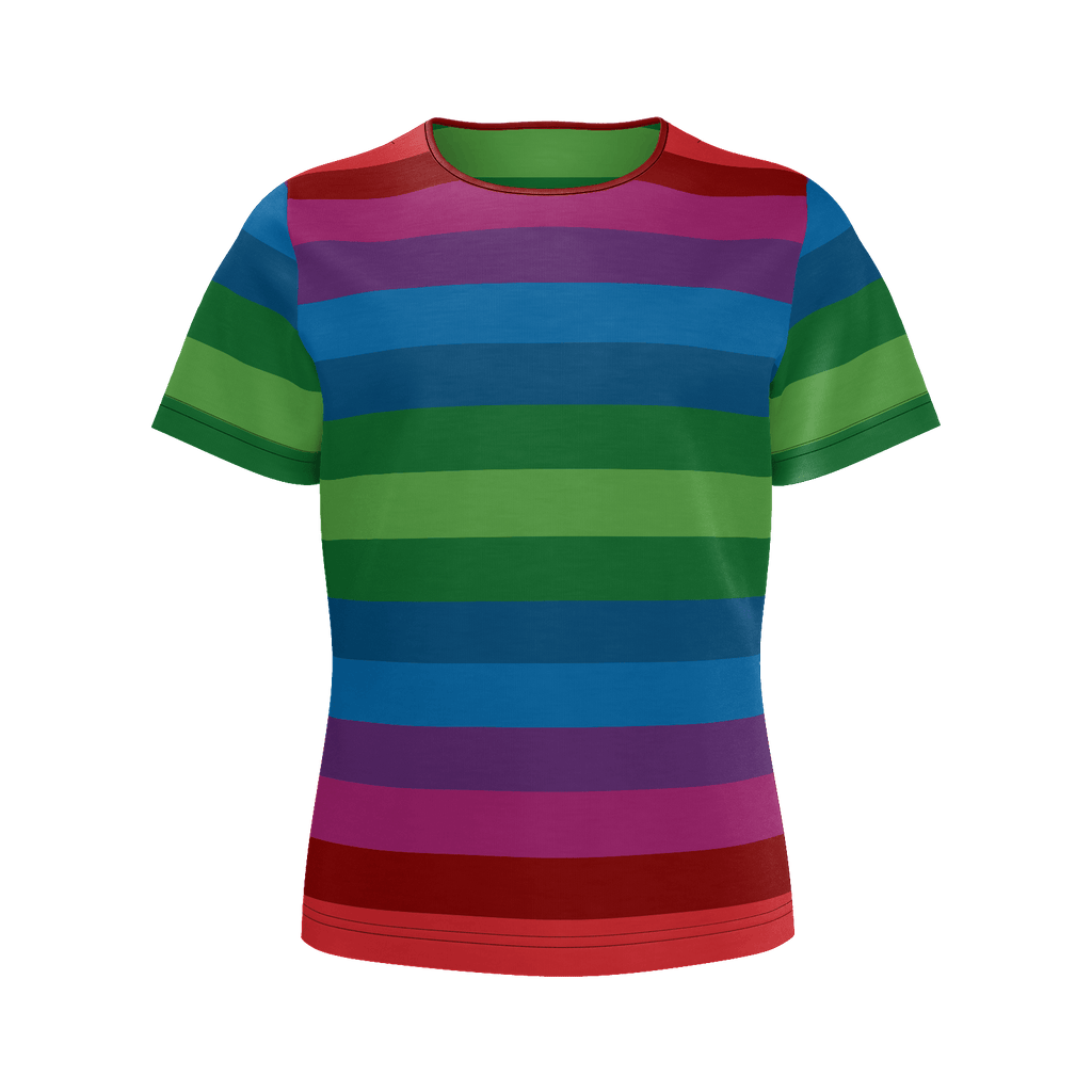 RetroRainbow girls' shirt with bold multicolored vintage-inspired stripe pattern (horizontal)