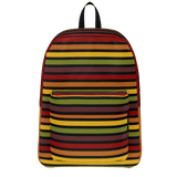 Marrakesh pattern retro '70s-style stripe backpack - Horizontal design on black
