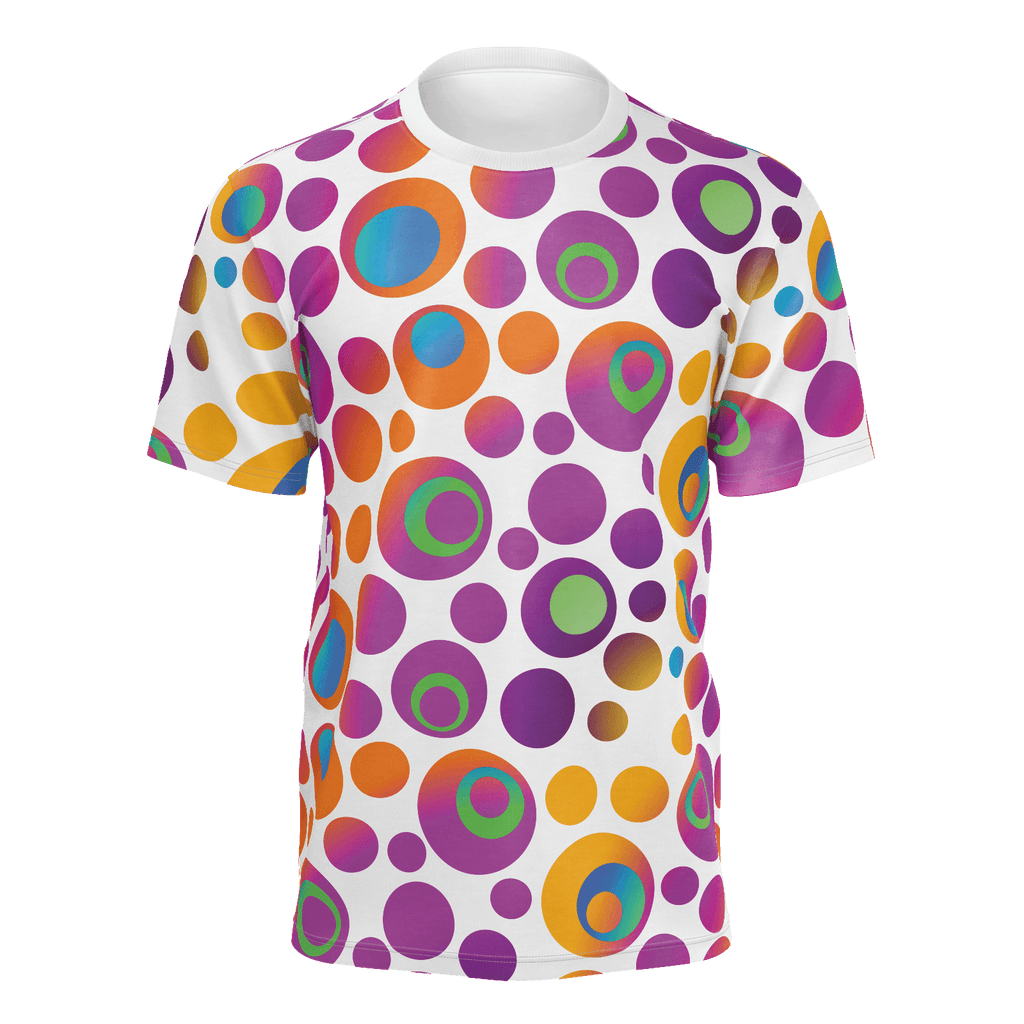 Brightspots unisex T-shirt: Multicolored retro-inspired circles & dots on white background