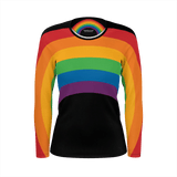 Retro-style rainbow shirt with wraparound design on a women's long-sleeved shirt on black