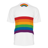 Rainbow shirt with wraparound design on a unisex adult short-sleeved shirt - Retro style