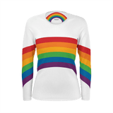 Rainbow shirt with wraparound design on a adult unisex long-sleeved shirt / Retro style