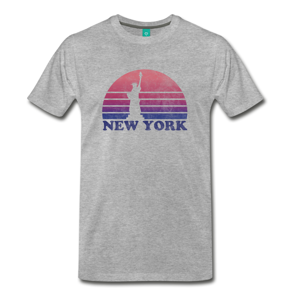 NEW YORK state T-shirt: Vintage-style distressed graphic on a premium unisex shirt - heather gray
