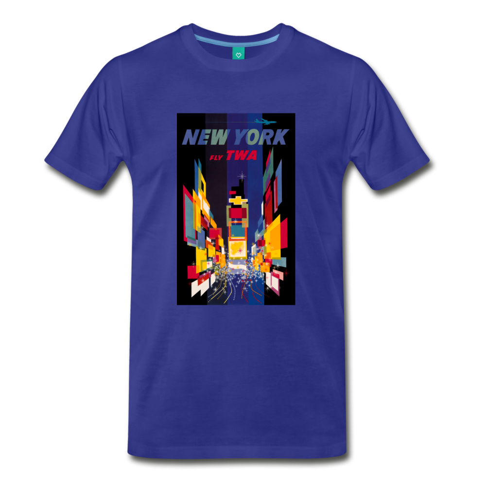 Times Square in New York City - Abstract vintage art on a on a premium unisex T-shirt - royal blue