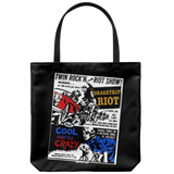 Tote bag with a vintage campy teen movie ad from 1959 - Twin rock 'n riot show!