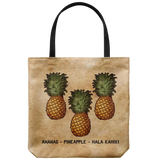 Vintage-style pineapple tote bag with text: Ananas - Pineapple - Hala Kahiki