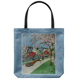 Tote bag with peacock garden scene in vintage embroidery effect