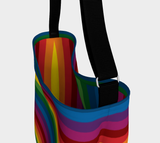 RetroRainbow roomy neoprene day tote bag with bold multicolored vintage-inspired stripe pattern - Horizontal exterior, vertical interior