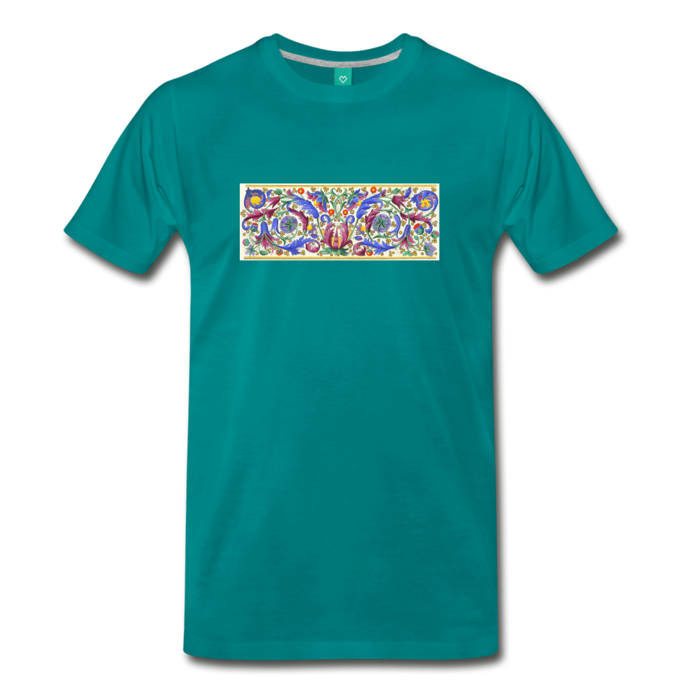 Ancient illuminated art - on a premium unisex T-shirt - teal