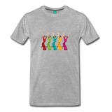 Happy '50s women jumping on a premium unisex T-shirt - heather gray