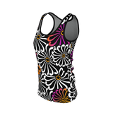 Chrysanthemum - Stylized all-over flower graphic on a women's tank top