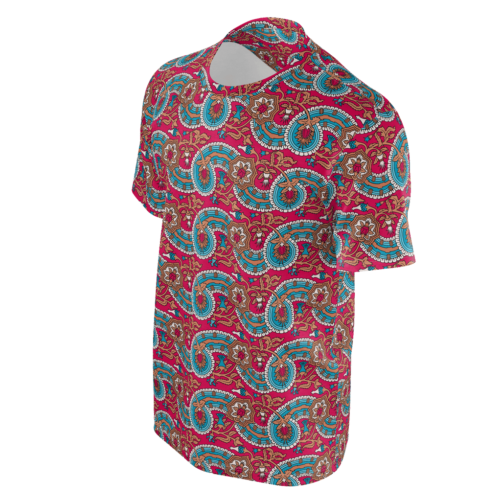 Dutch paisley all-over print unisex t-shirt on raspberry