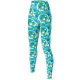 Moddots premium yoga pants/leggings, with a groovy retro '70s circle pattern (blue base)