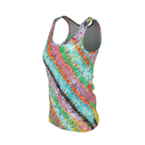 Emilia women's tank top with retro '60s-inspired multicolored pastel watercolor pattern