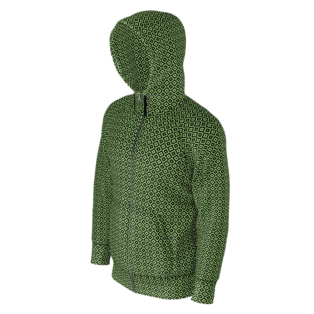 Illusive black & green hoodie with lined hood & zip-up front with small square optical illusion pattern