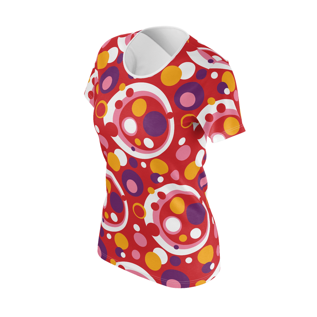 Moddots short-sleeve T-shirt, with a groovy retro '70s circle pattern with a red base