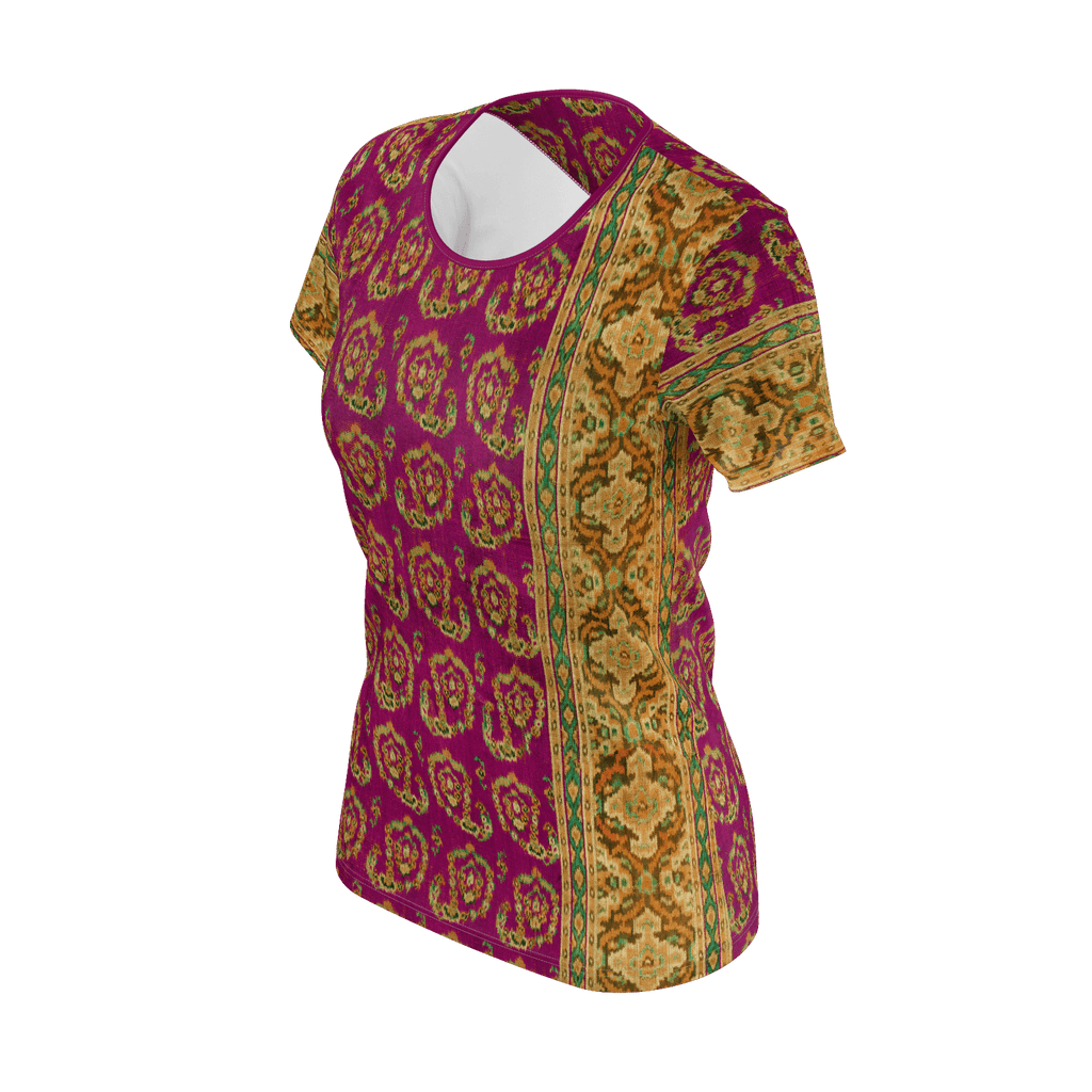 Antique-style paisley all-over print short-sleeve women's T-shirt